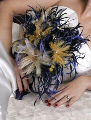 Feather wedding bride bouquets